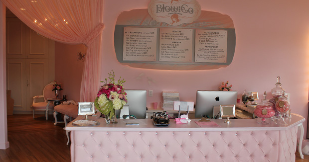 Inside of Blow and Go with service counter and menu